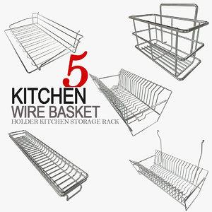 3d model holder kitchen storage basket