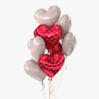 realistic bunch balloons 3 3d model