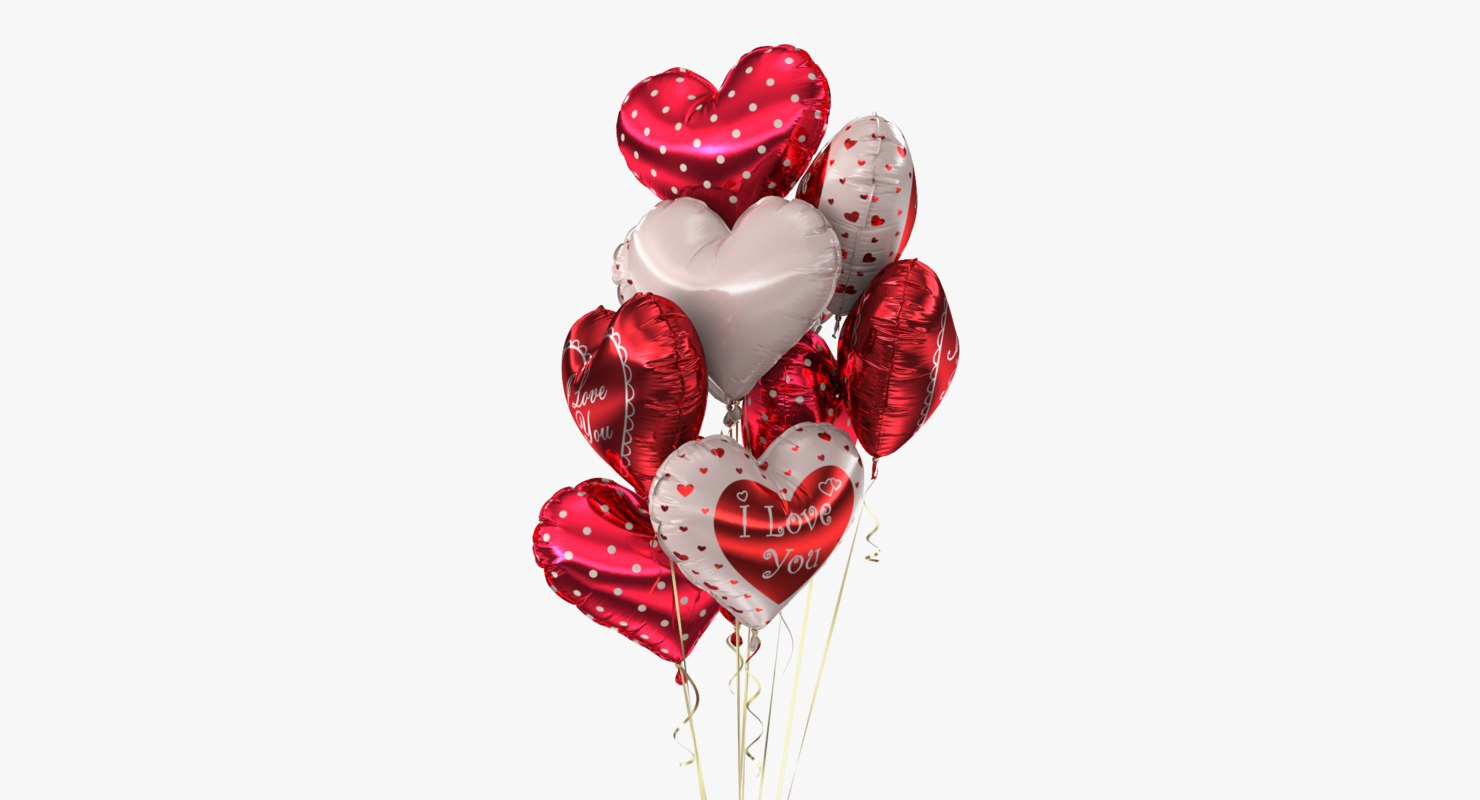 3d model realistic bunch balloons