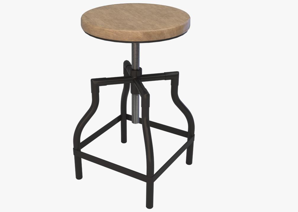 3d industrial stool
