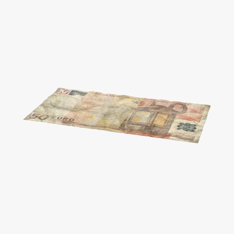 3d 50 euro bill distressed