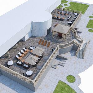 3d model luxury terrace furniture