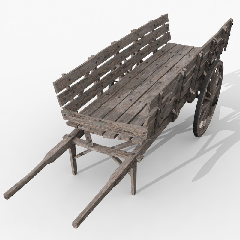 old wood cart 3d max