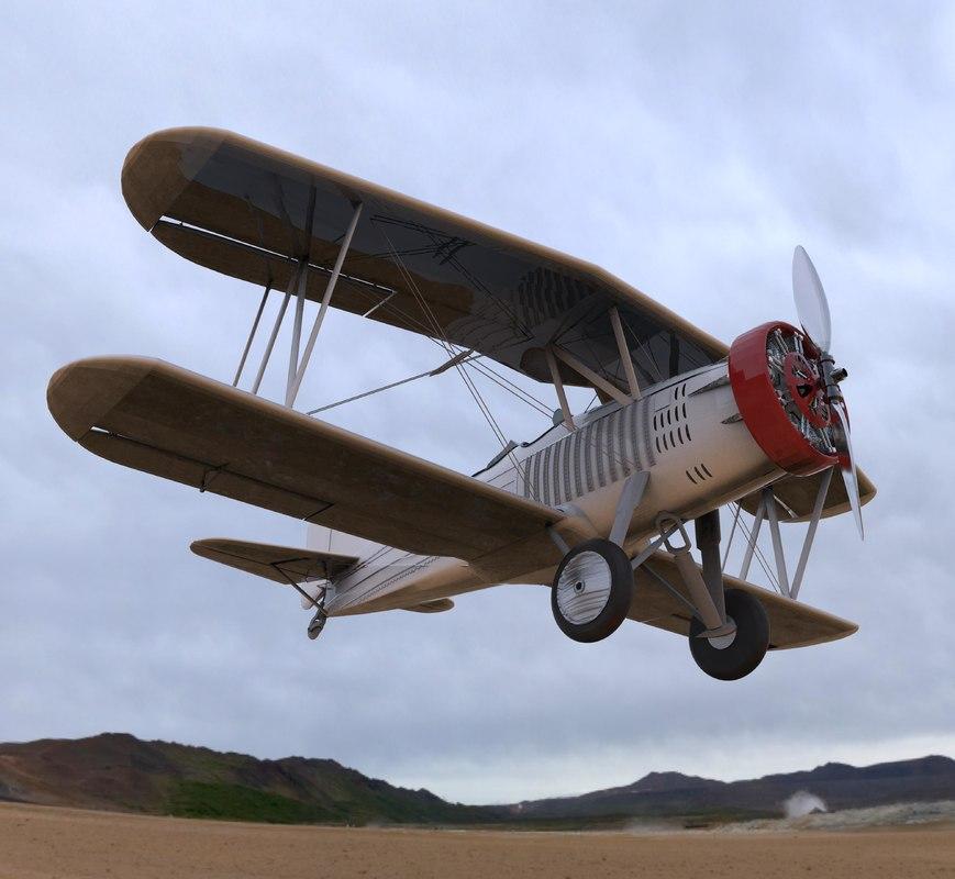 3d model biplane curtiss helldiver