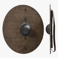 3d model medieval wooden shield