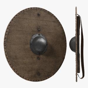 3d model medieval wooden shield