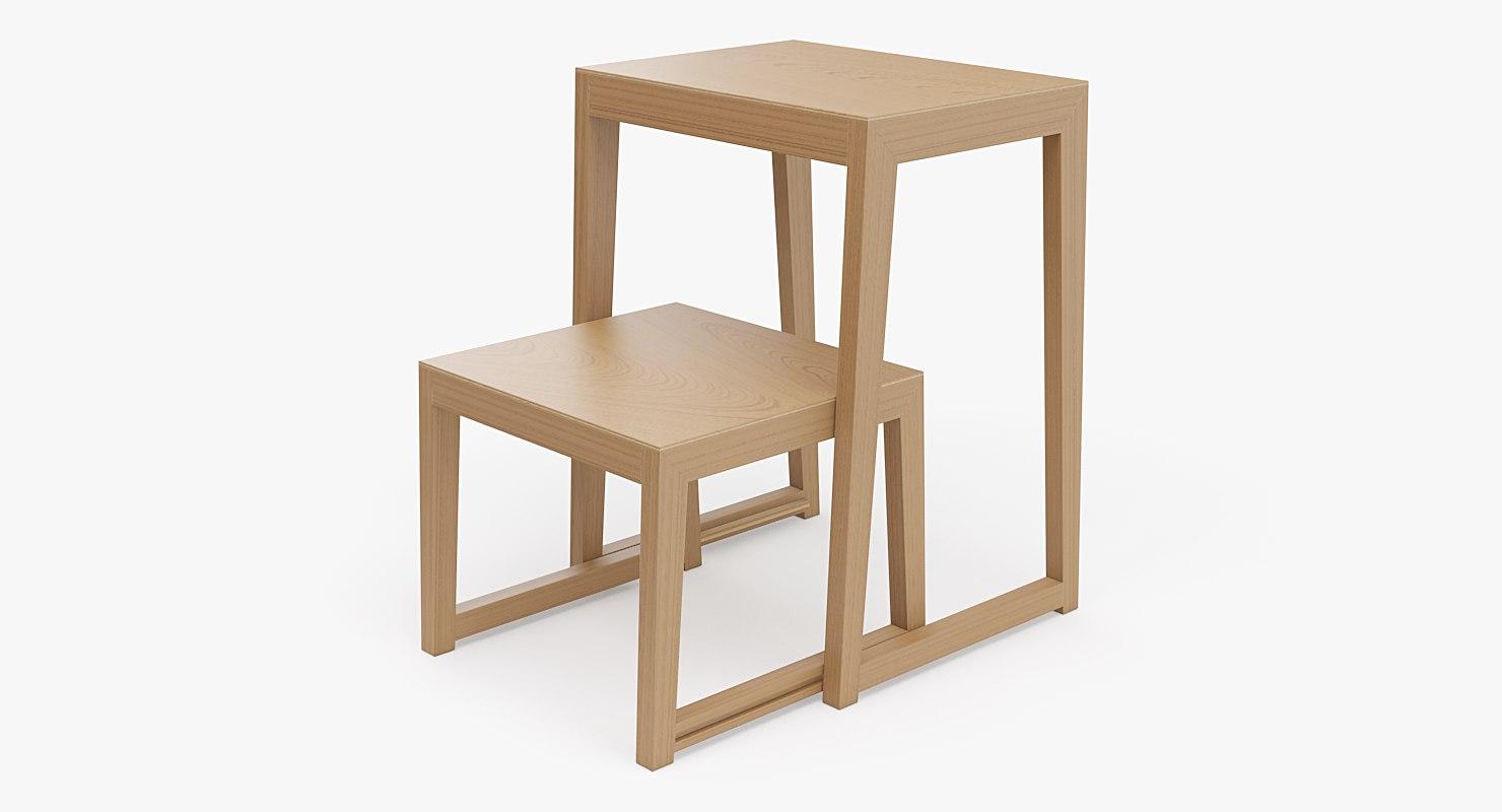 3d realistic step ladder stool model