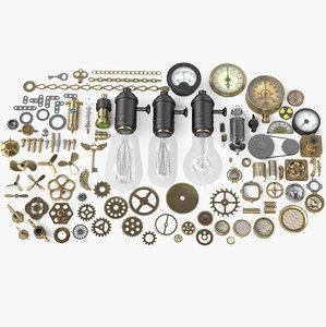 steampunk 100 parts 3d model
