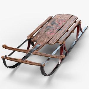 vintage wood sled 3d model