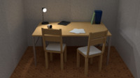 3d table chair office model
