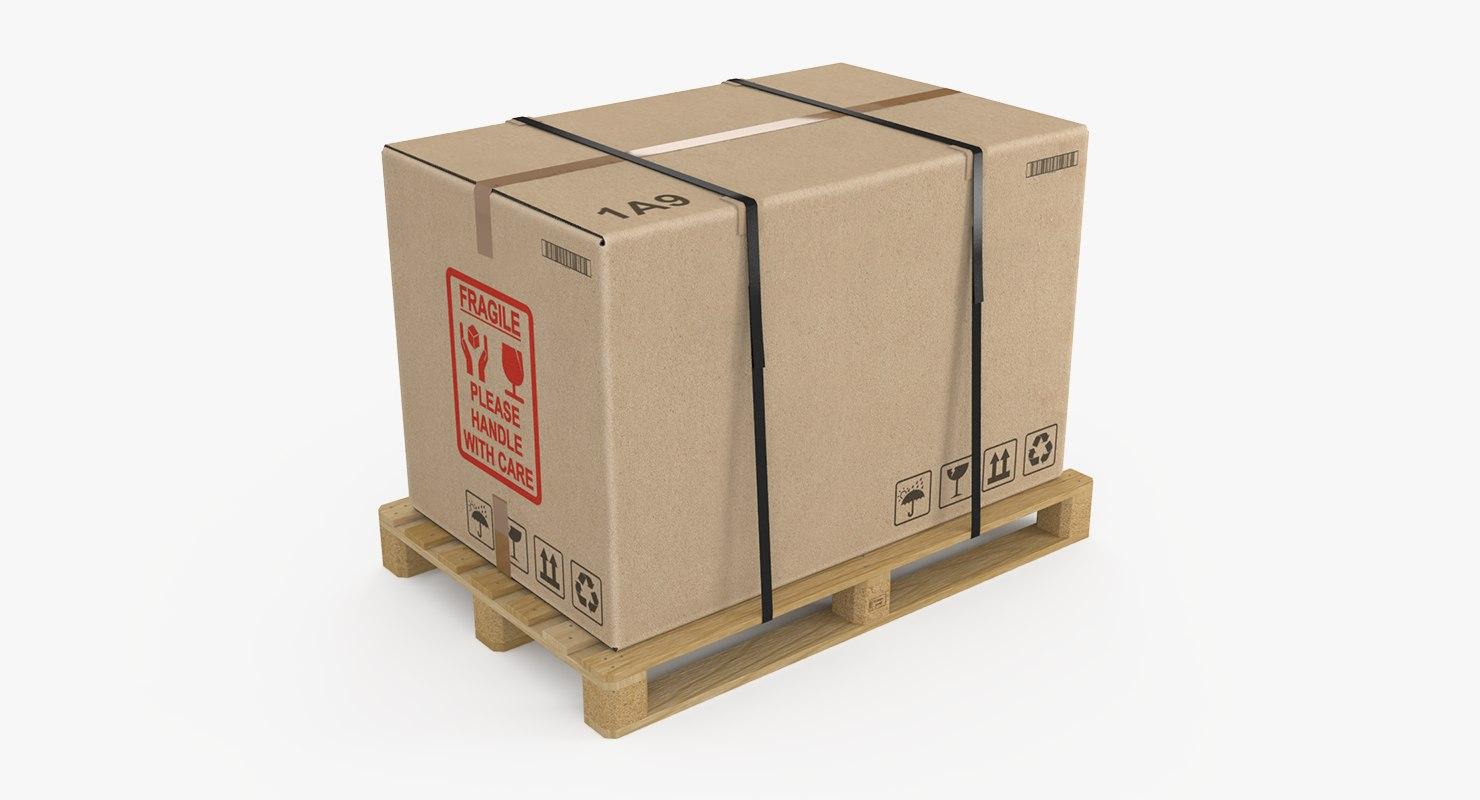 pallet cardboard box large 3d model