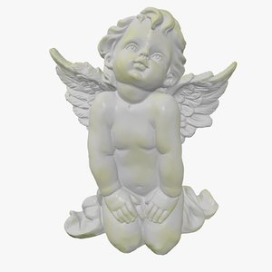 3d obj angel figurine scanned