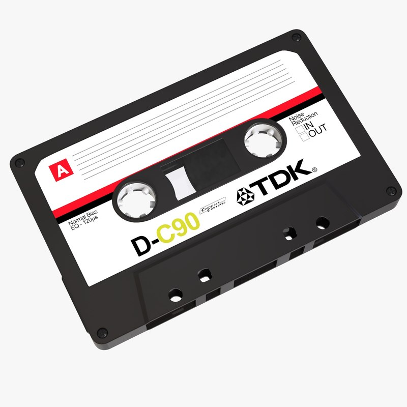 3d retro cassette tape