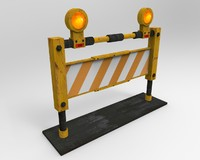3d model trafic metal barrier