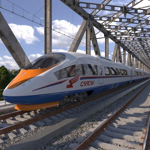 3d model electric train siemens velaro