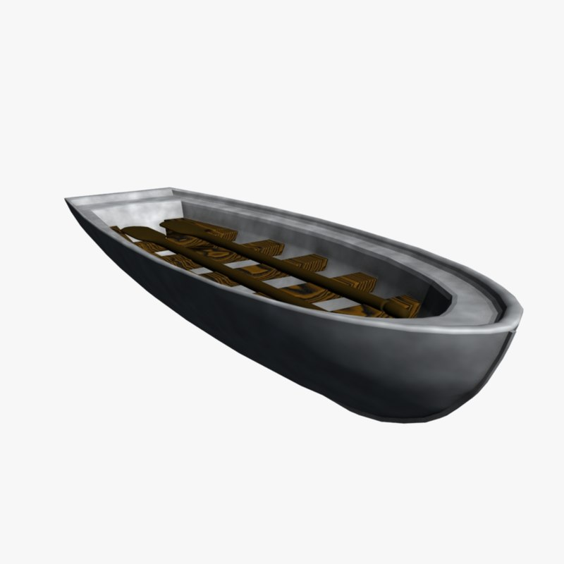 3d small row boat model
