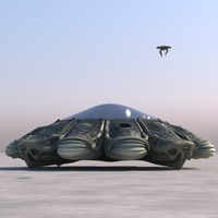 3d model of organic ufo flying saucer