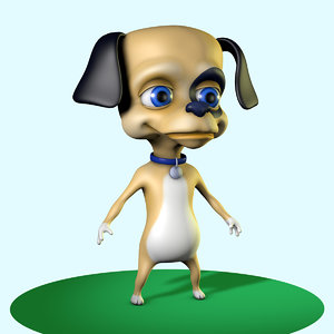 cute little dog character 3d model