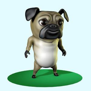3d cute pug dog character model