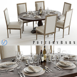 pottery barn lorraine table 3d model