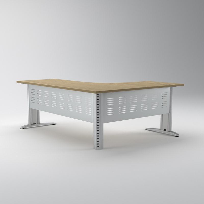 3d model of corner office desk