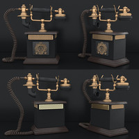 retro telephone 3d max