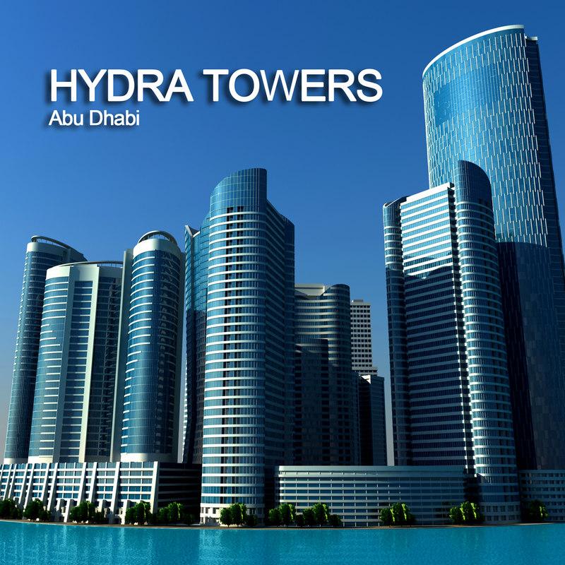 hydra towers abu dhabi 3d model
