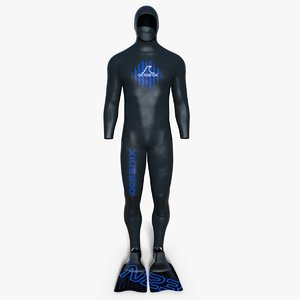 3d diving suit wetsuit flippers model