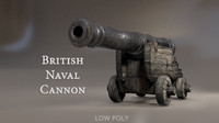 3d british naval cannon pbr