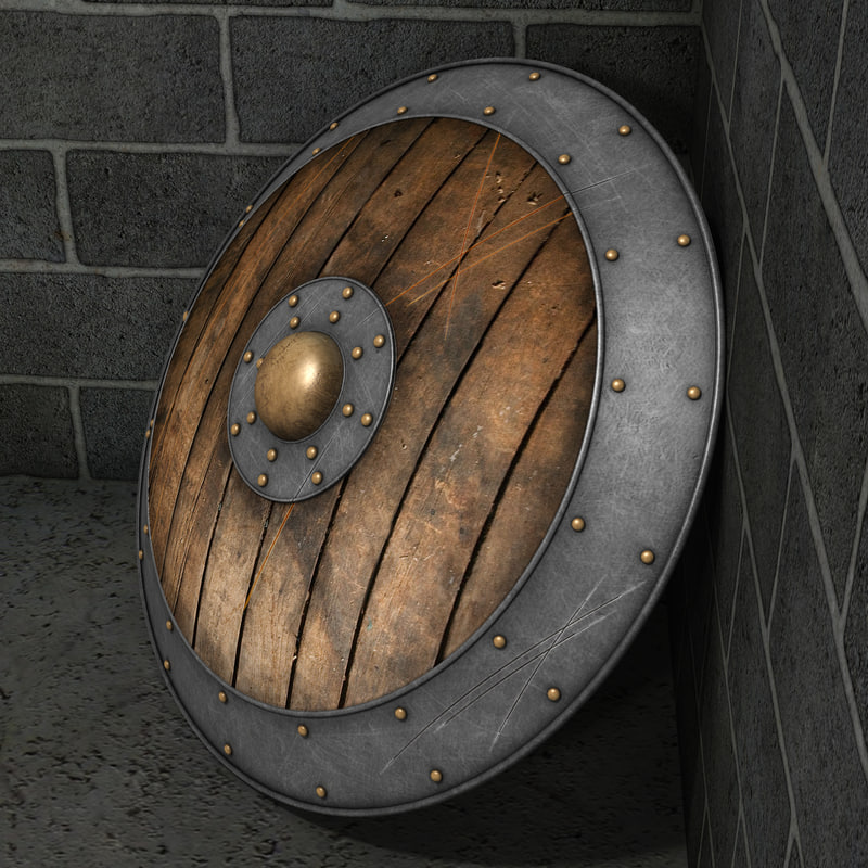 wooden shield 3d obj