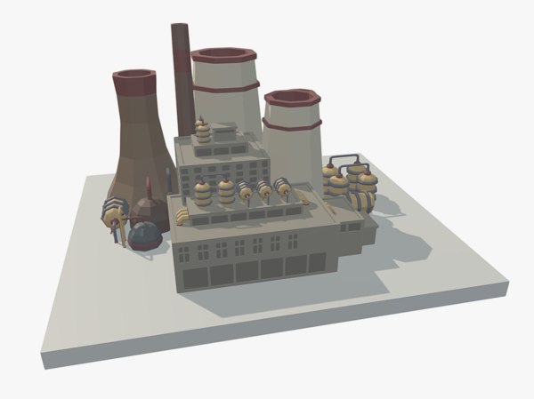 low-poly factory 3ds