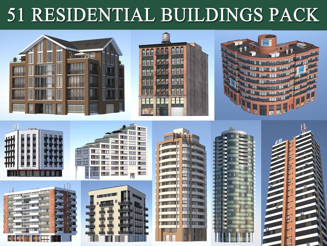 3d model residential buildings pack