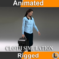 3d model casual woman character animation