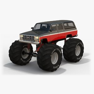 low-poly chevrolet suburban monster truck max