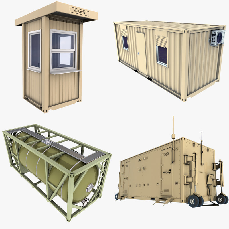 3d model military containers