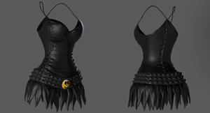 3d model female leather dress