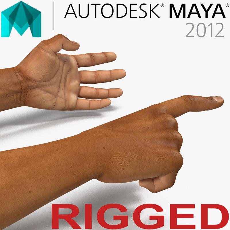 african man hands 2 3d model