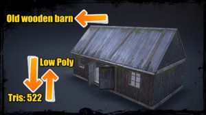 3d model photorealistic old wooden barn