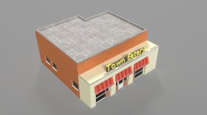 eatery building asset 3d model