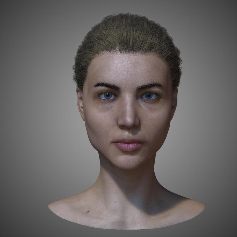 realistic female head 3d model