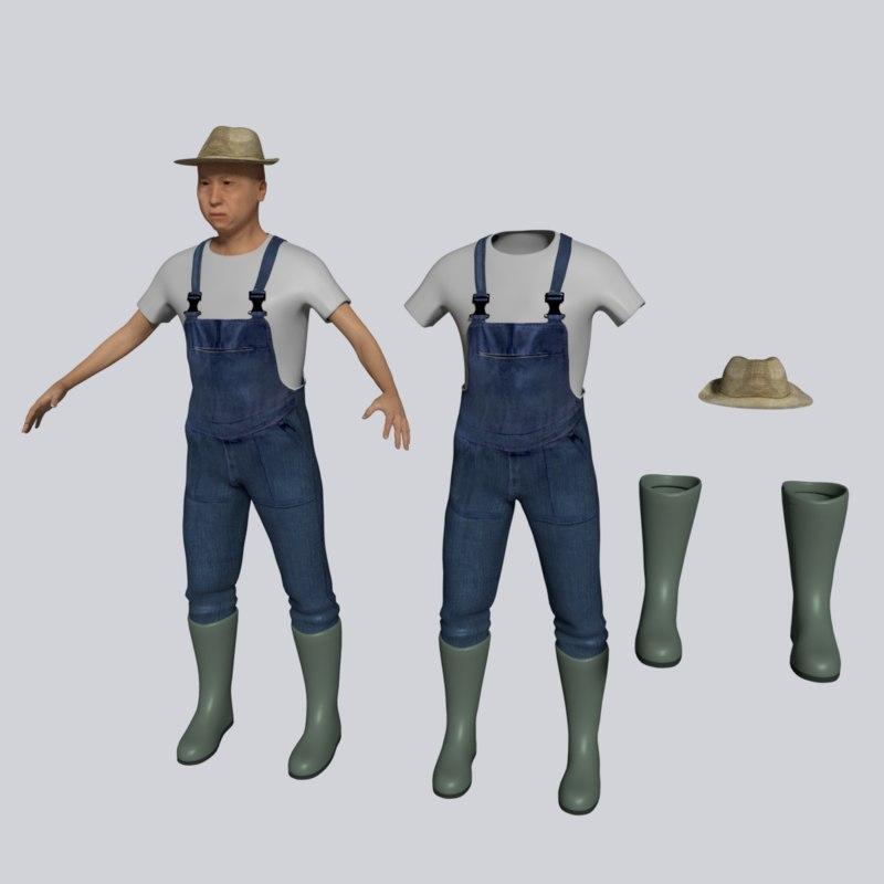 3d farmer farm man