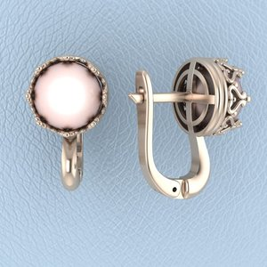 earrings pearl 3d model