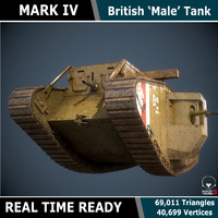 Mark IV 'Male' WW1 Tank - Game Ready