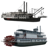 3d historic paddle steamer river