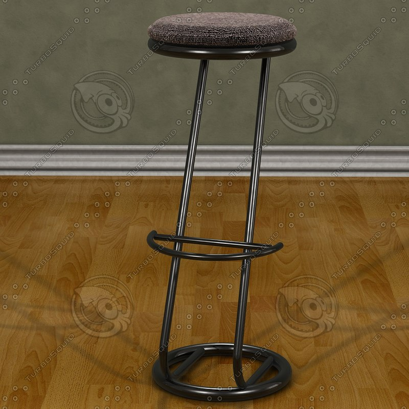 modern chrome stool padded 3d 3ds