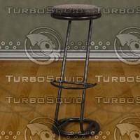 modern chrome stool padded 3d 3ds
