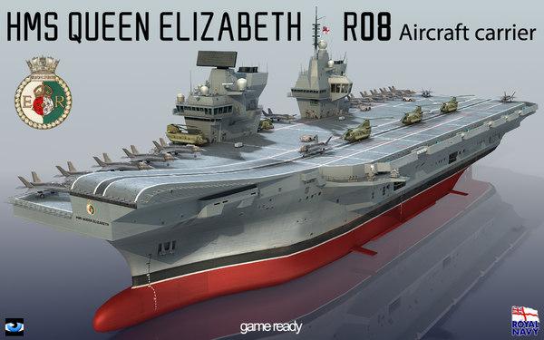 queen elizabeth r08 hms 3d 3ds