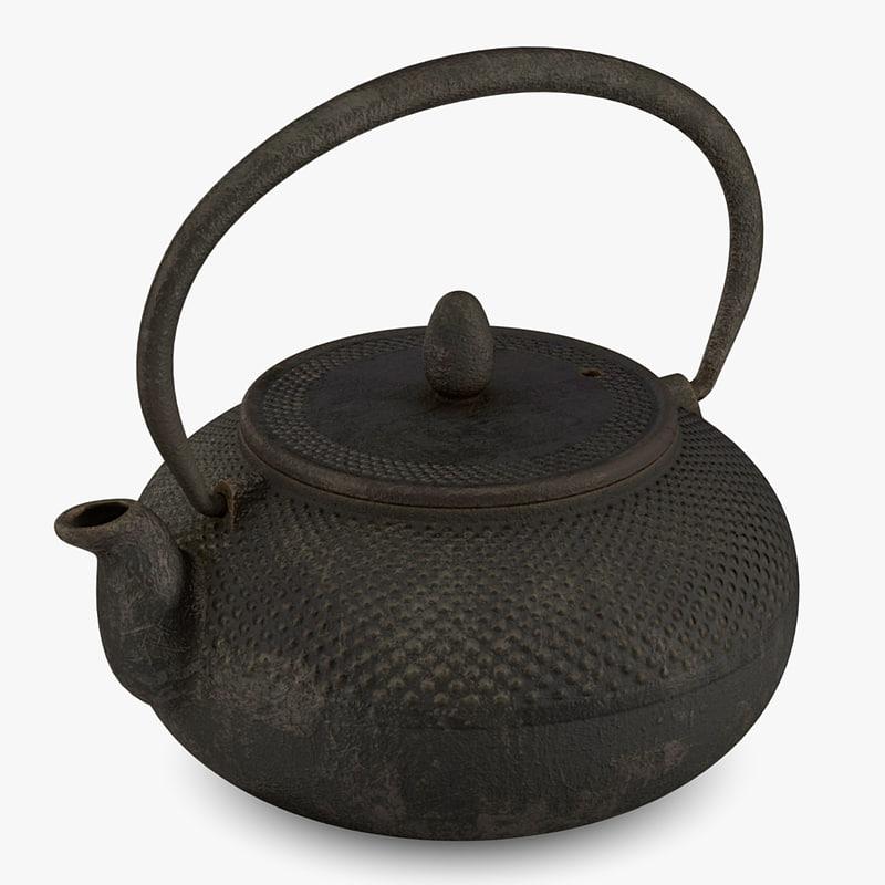 3d ancient asian teapot