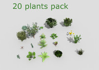 20 low poly plants collection
