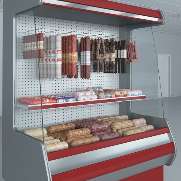 custom refrigerated showcase sausages 3d model